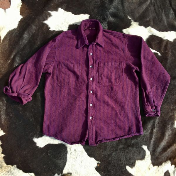 1970s THICK COTTON FLANNEL PLUMB PURPLE STRIPED SHIRT XL