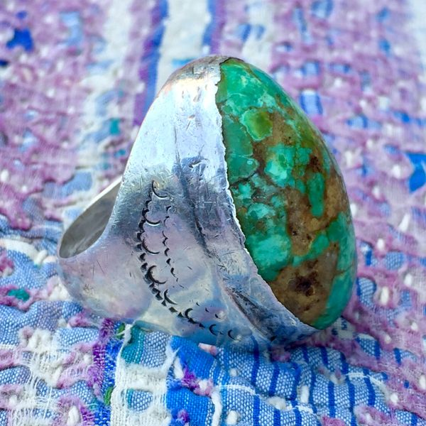 1920s ENORMOUS PERSIAN TURQUOISE AMERICAN CAST SILVER STAMPED RING
