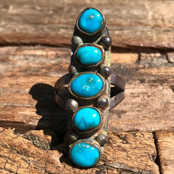 1940s LONG 5 BLUE RURQUOISE STONES SILVER RING