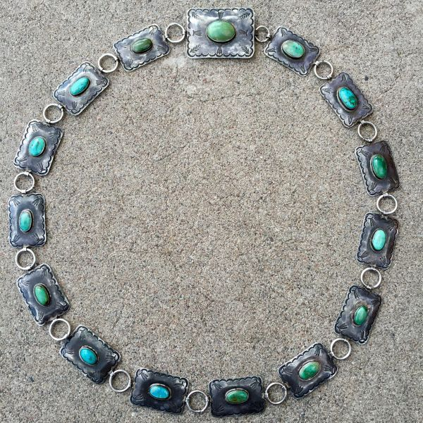SOLD 1920s INGOT SILVER PERSIAN TURQUOISE FILE STAMPED FEATHER & FLEUR DE LIS CONCHO NECKLACE & BELT