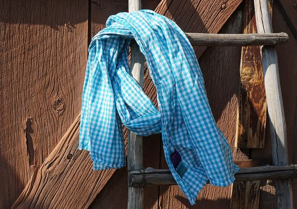 BLUE COTTON GINGHAM SCARF