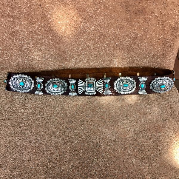 SOLD 1930s INGOT SILVER CHISELED & HANDWROUGHT 20 CONCHOS WITH MOSTLY BLUE, GEM QUALITY TURQUOISE CONCHO BELT