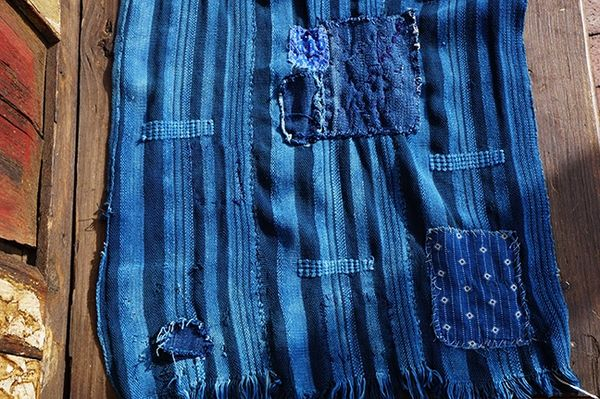 SOLD 13 ANTIQUE BORO PATCHED INDIGO SCARF