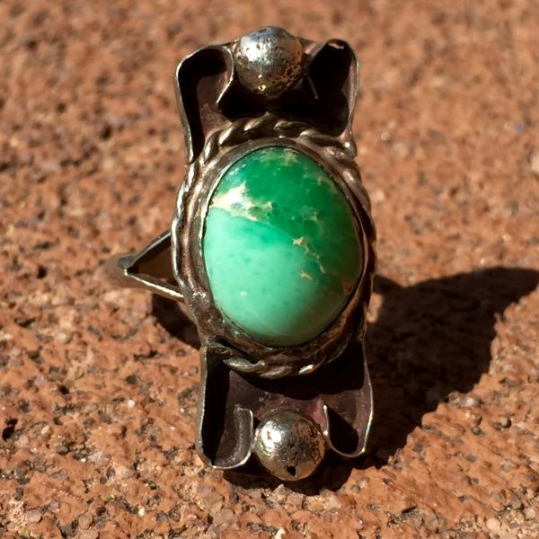 SOLD 1920s CURLY Q GREEN TURQUOISE SILVER RING