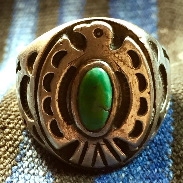 SOLD 1920s THUNDERBIRD FRED HARVEY ERA ARROWS STAMPED SILVER TURQUOISE RING