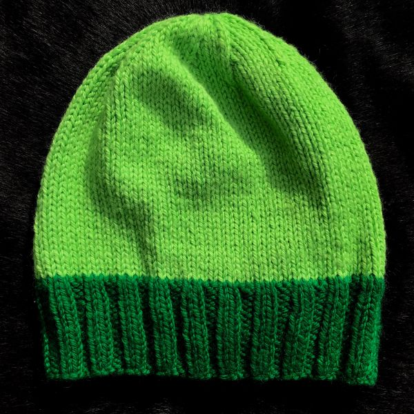 LIGHT NEON & DARK NEON GREEN KINT SYNTHETIC BEANIE CAP HAT