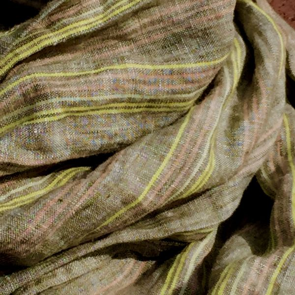 TAN, PINK, YELLOW LINEN SCARF
