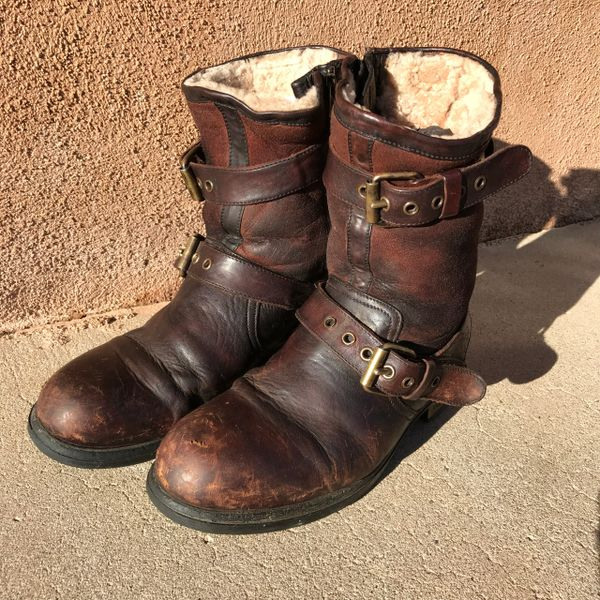 RARE MADE IN ITALY 8.5 SHEARLING BOMBER LEATHER BOOTS BY UGG