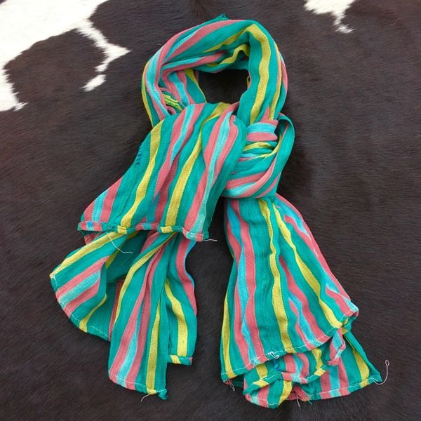 1800S THIN SOFT BLUE, PINK, YELLOW & GREEN, STRIPED BAMANA TRIBE IN MALI SHAWL SCARF