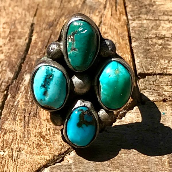 1950s 4 TURQUOISE STONE SILVER RING