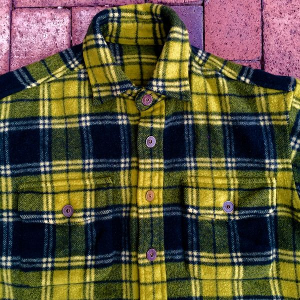 SOLD VINTAGE WOOL NEON GREEN TARTAN PLAID WORKWEAR SHIRT with 100 YEAR OLD METAL BUTTONS
