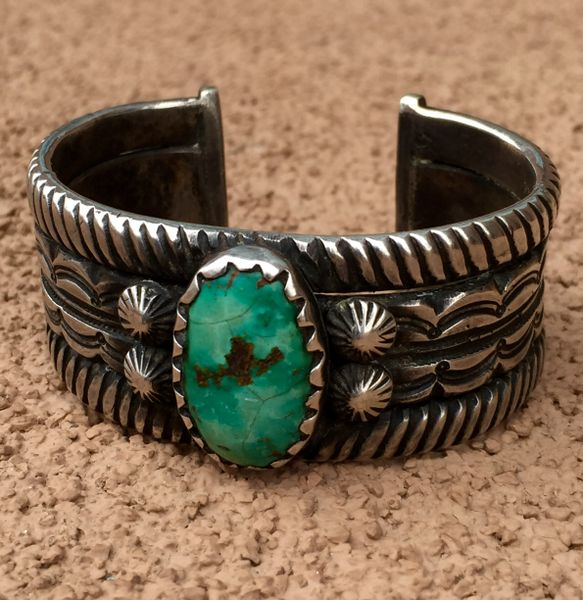SOLD 1920s REPRODUCTION TURQUOISE INGOT SILVER HEAVY CUFF BRACELET BY JOCK FAVOUR