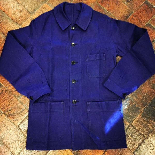 NEW OLD STOCK FRENCH INDIGO WORKWEAR CHORE COAT JACKET
