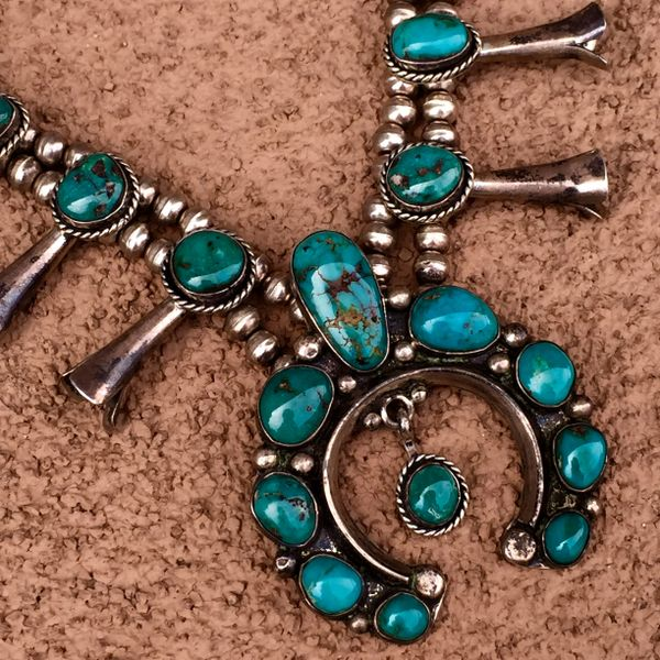 SOLD 1960s BISBEE TURQUOISE SILVER SQUASH BLOSSOM in 1930s STYLE