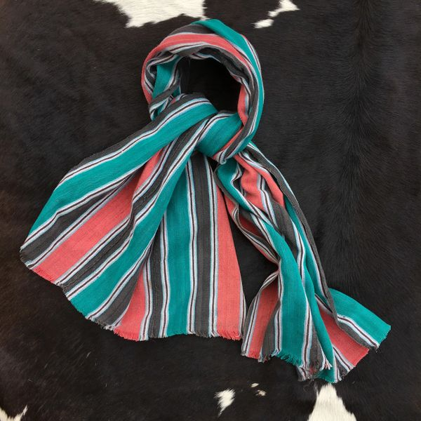 1800s STRIPED PINK, BLACK, WHITE & GREEN KOBA TRIBE IN WEST AFRICA SCARF