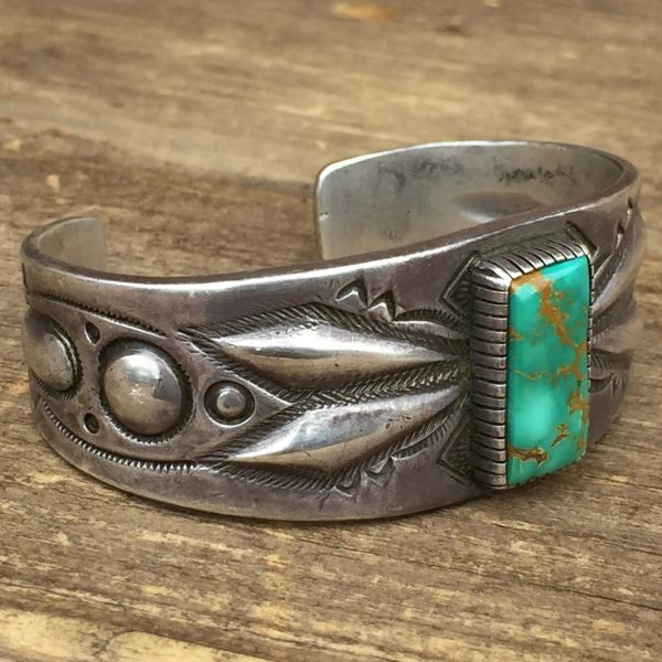 SOLD 1940s REPRODUCTION of 1910s STYLE INGOT SILVER REPOUSSE BLUE GEM TURQUOISE CUFF BRACELET
