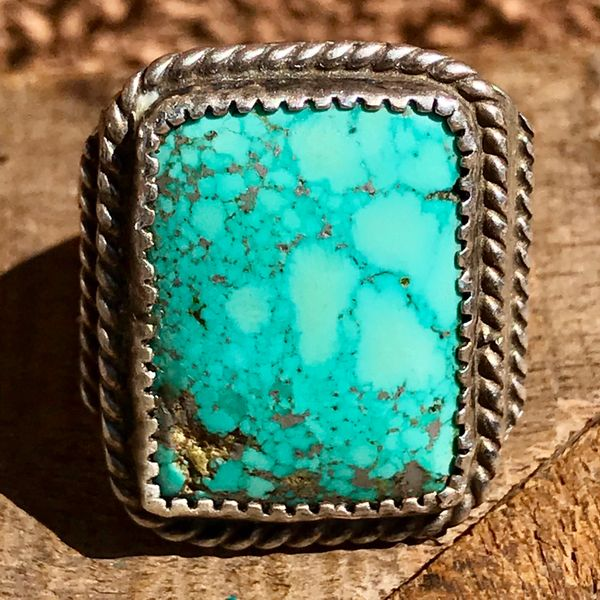 SOLD 1940s BIG MENS SILVER & BLUE TURQUOISE RECTANGULAR RING
