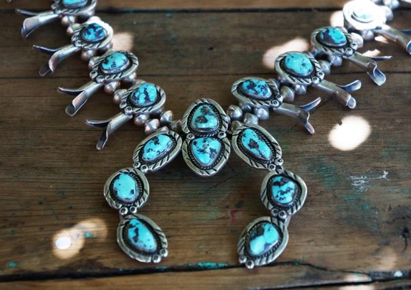 SOLD 1970's SILVER KINGMAN TURQUOISE SQUASH BLOSSOM NECKLACE