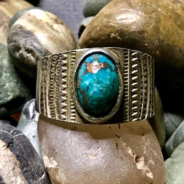 1910s PUEBLO THICH INGOT EARLY FILE STAMPED SILVER CIGSR BAND BLUE TURQUOISE PINKY RING