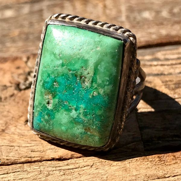 SOLD 1930s GREEN SQUARE TURQUOISE SILVER RING