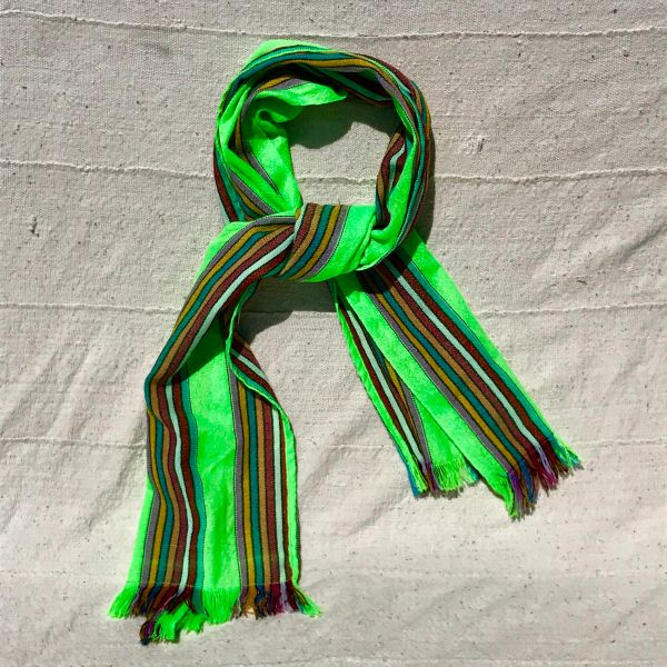 VINTAGE FRINGED SYNTHETIC MATERIAL GREEN STRIPED SCARF OR TABLE RUNNER