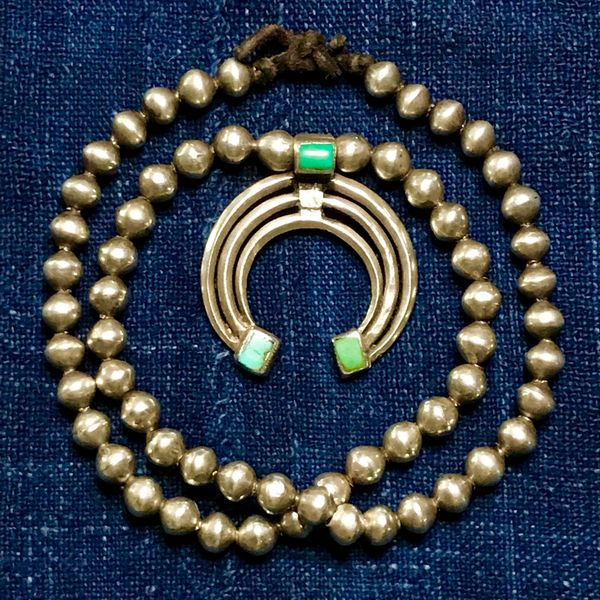 """SOLD 1880s NAVAJO OR HOPI INGOT SILVER BENCH BEAD TURQUOISE NAJA NECKLACE ATELIER RESTRUNG ON AMERICAN HANDCUT DEERSKIN LEATHER 26"""" LONG"""