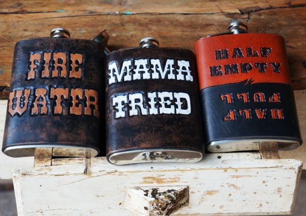 LEATHER HAND TOOLED HAND PAINTED STAINLESS STEEL FLASK
