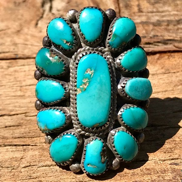 SOLD 1950s J PASALENTE ZUNI CLUSTER SILVER RING SIGNED