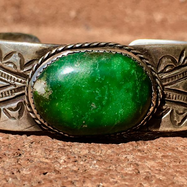 SOLD 1880s INGOT SILVER FILE STAMPED CUFF WITH ENORMOUS OVAL GREEN DOMED 1920s TURQUOUSE CUFF BRACELET