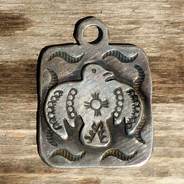 SOLD REPRODUCTION 1920s NEW MEXICO ZIA SYMBOL SILVER FRED HARVEY ERA THUNDERBIRD DOG TAG PENDANT