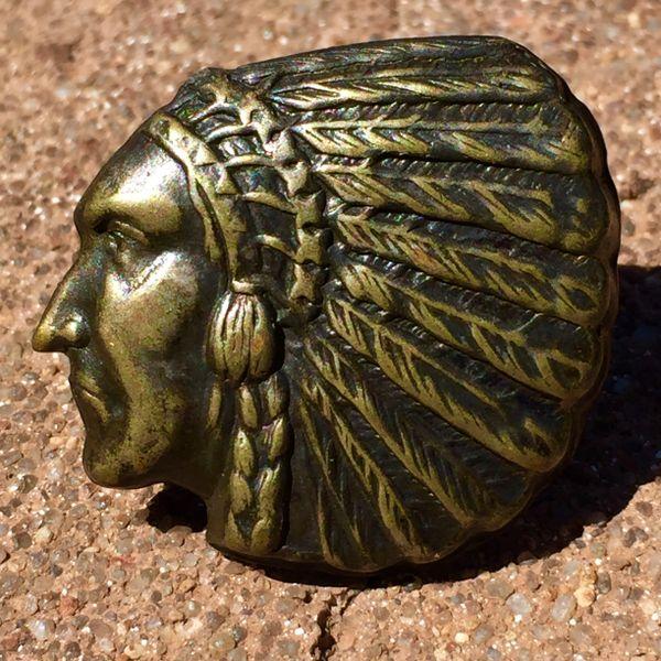 SOLD 1920s INDIAN CHIEF HEAD BANDANNA SLIDER