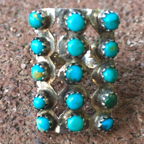 SOLD 1920s INGOT SILVER AMERICAN TURQUOISE 15 STONE RING
