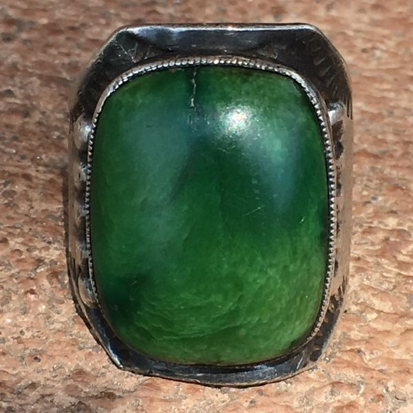 SOLD 1930s SILVER CIGAR BAND RECTANGLE GREEN TURQUOISE RING