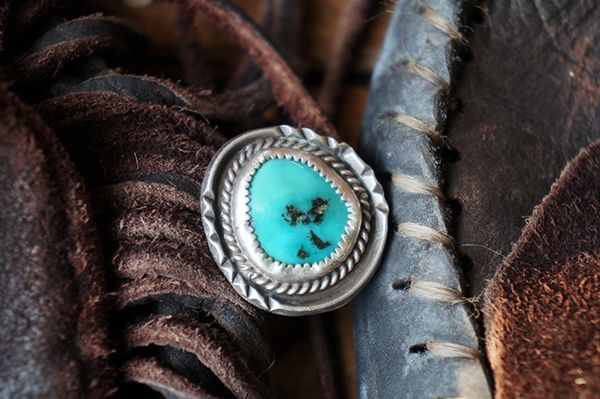 SOLD 1960s TURQUOISE AMERICAN SILVER RING