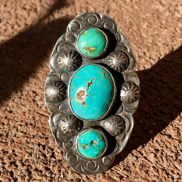 SOLD 1920s SILVER FINGER LONG 3 BLUE TURQUOISE STONE STAMPED PEYOTE RING