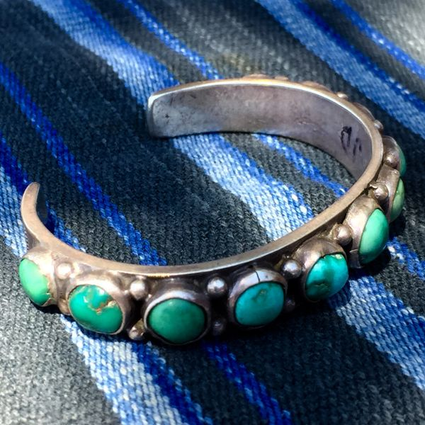 1920s TURQUOISE ROW INGOT SILVER STAMPED CUFF SMALL WRIST