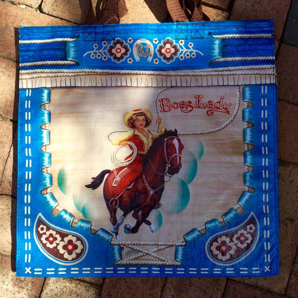 SOLD BOSS LADY COWGIRL TARP TOTE BAG