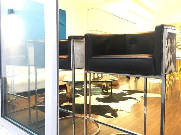 Cowhide Barstools Vintage Black White Hairhide Leather Bar: Calvin Barstool Leather Bar Stool Leather Chair