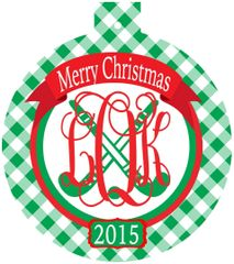 Field Hockey Christmas Monogrammed Ornament