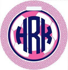 Soccer Monogrammed Greek Key Bag Tag
