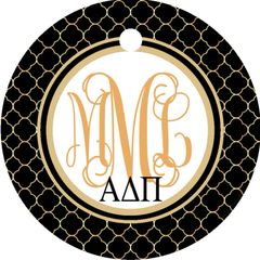 Black and Gold Sorority Monogrammed Keychain