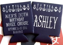 White Anchors Nautical Party Huggers