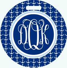 Anchors Monogrammed Luggage Tag