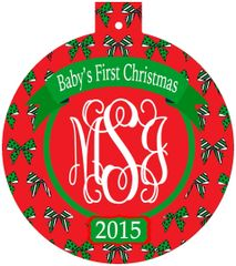 Baby's Girl First Christmas Monogrammed Ornament