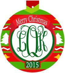 Nordic Christmas Monogrammed Ornament