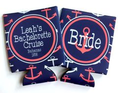 Anchor Navy and Coral Nautical Party Huggers