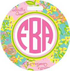 Lilly South Carolina Monogrammed Luggage Tag