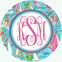 Lilly Sailboats Monogrammed Luggage Tag