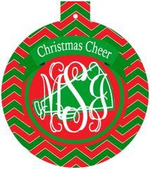 Cheer Christmas Monogrammed Ornament