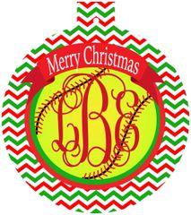 Softball Christmas Monogrammed Ornament